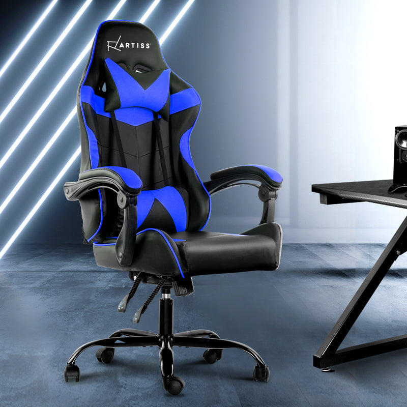 Artiss Gaming PU Leather Chair - Black & Blue - Factory Direct Oz