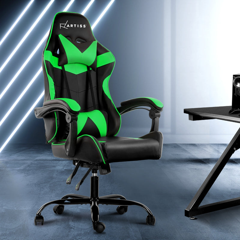 Artiss Gaming PU Leather Chair - Black & Green - Factory Direct Oz