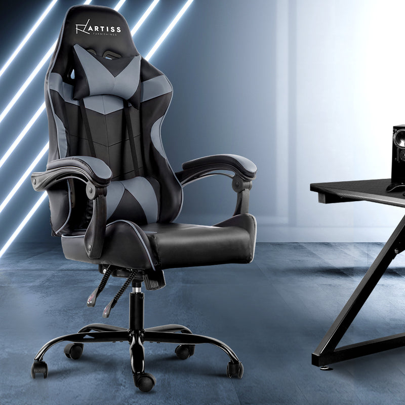 Artiss Gaming PU Leather Chair - Black & Grey - Factory Direct Oz