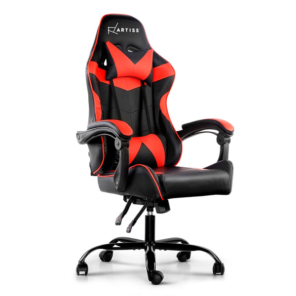 Artiss Gaming PU Leather Chair - Black & Red - Factory Direct Oz