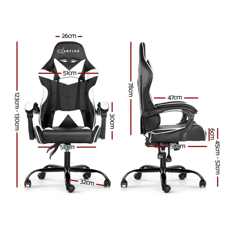Artiss Gaming PU Leather Chair - Black & White - Factory Direct Oz