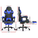 Artiss PU Leather Gaming Chair w/ Footrest - Black/Blue - Factory Direct Oz