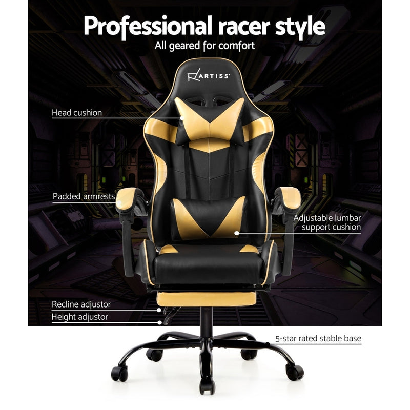 Artiss PU Leather Gaming Chair w/ Footrest - Black & Gold - Factory Direct Oz