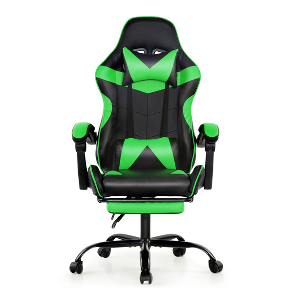 Artiss Gaming PU Leather Chair w/ Footrest - Black & Green - Factory Direct Oz