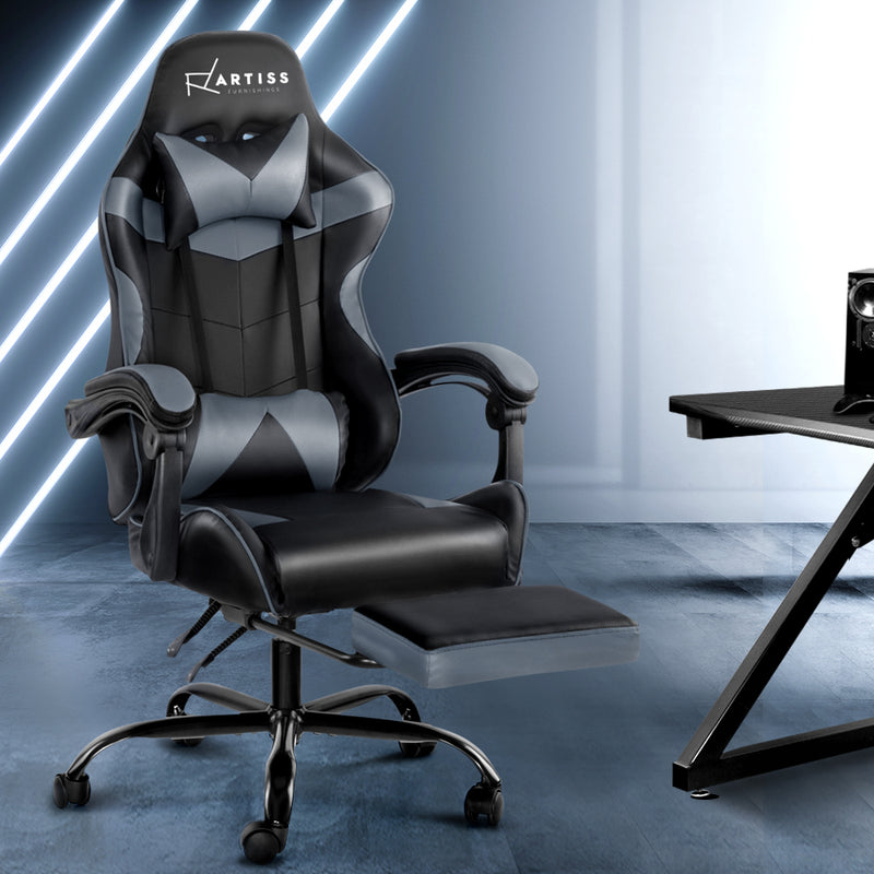 Artiss Gaming PU Leather Chair w/ Footrest - Black & Grey - Factory Direct Oz