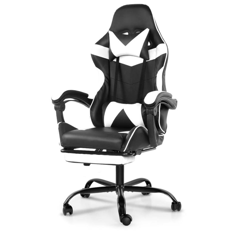 Artiss Gaming PU Leather CHair w/ Footrest - Black & White - Factory Direct Oz