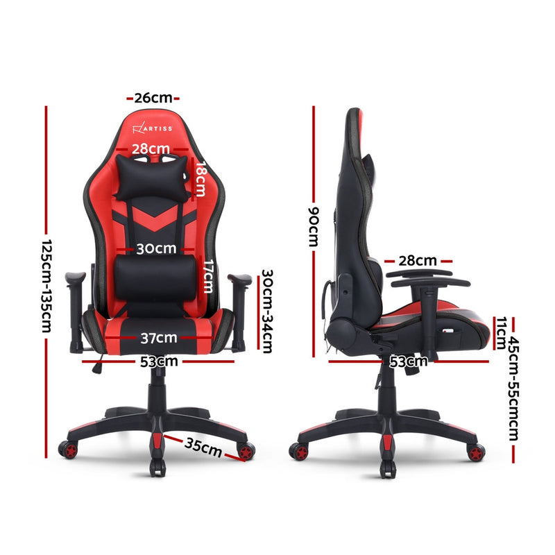 Artiss LED Gaming Office Chair - Red & Black