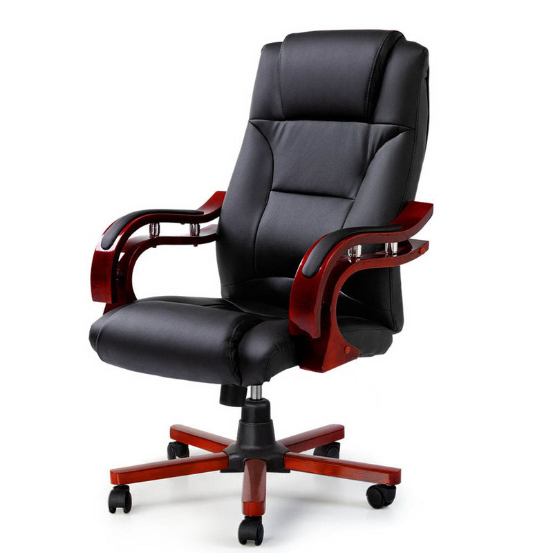 Executive Redwood & Leather Office Chair - Factory Direct Oz