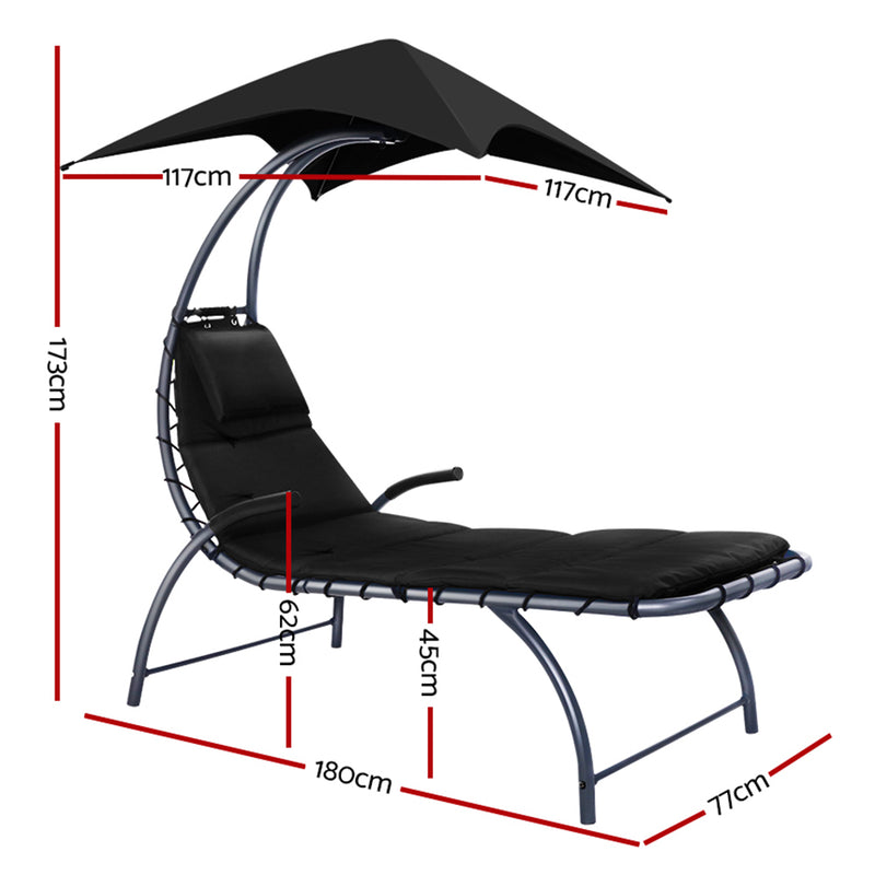 Gardeon Outdoor Sun Lounge w/ Canopy - Factory Direct Oz