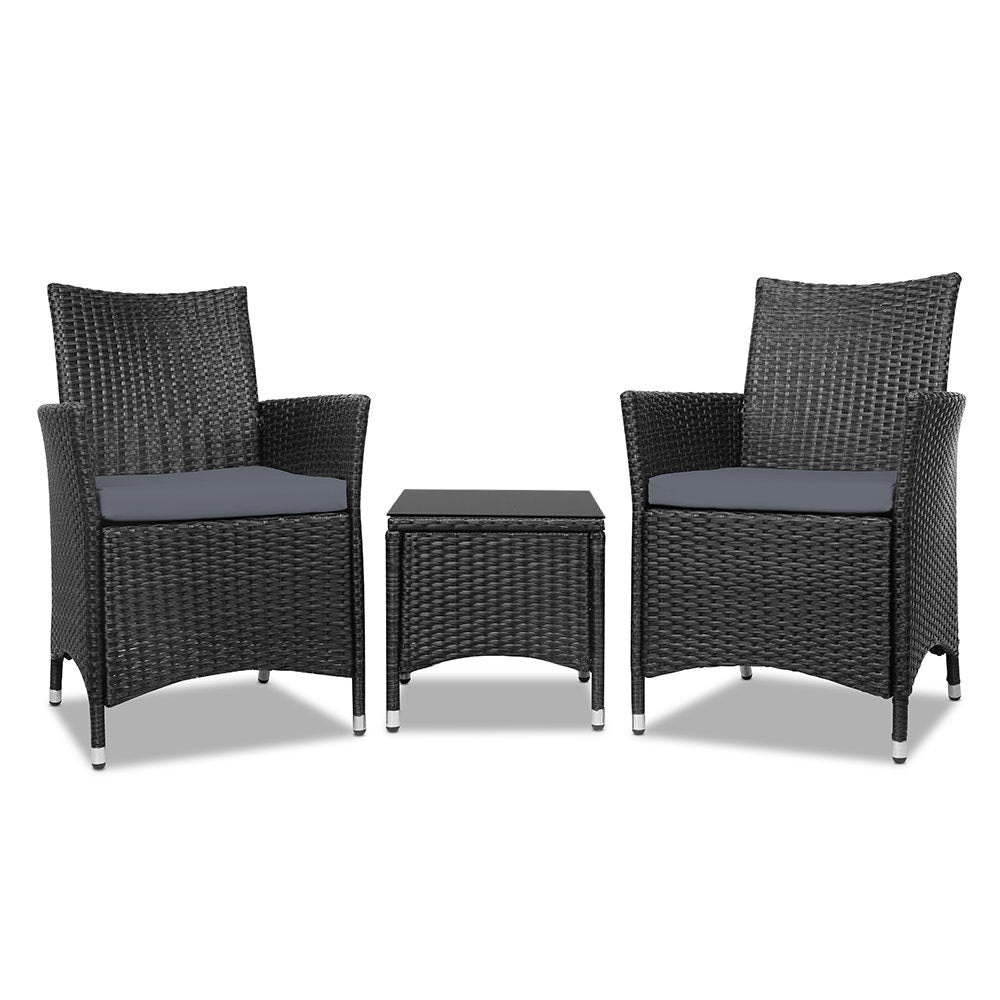 Awesome Gardeon 3Pc Rattan Wicker Bistro Set Black Onthecornerstone Fun Painted Chair Ideas Images Onthecornerstoneorg