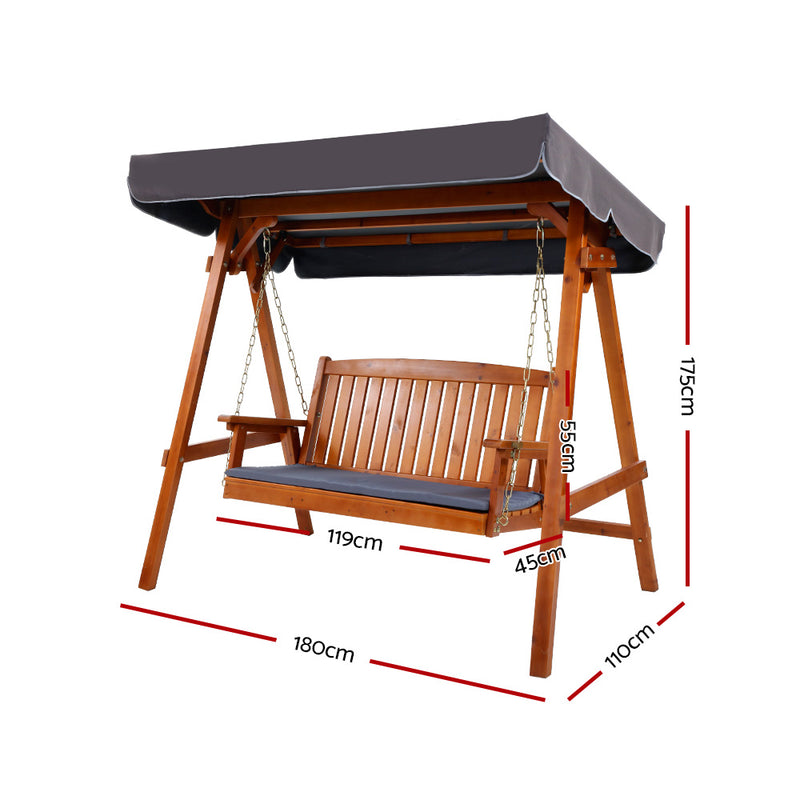 Gardeon 3 Seat Wooden Swing Chair - Factory Direct Oz