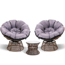 Garden Papasan Chair and Side Table Set- Brown - Factory Direct Oz
