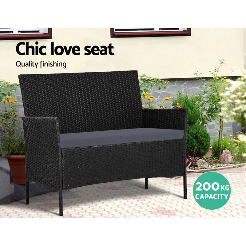 Gardeon Wicker Garden Lounge Setting with Storage Cover - Black - Factory Direct Oz