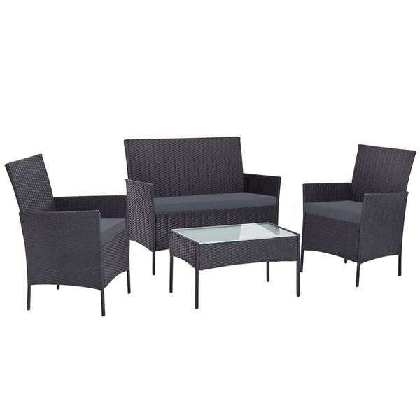 Gardeon 4pc Outdoor Rattan Set - Dark Grey - Factory Direct Oz
