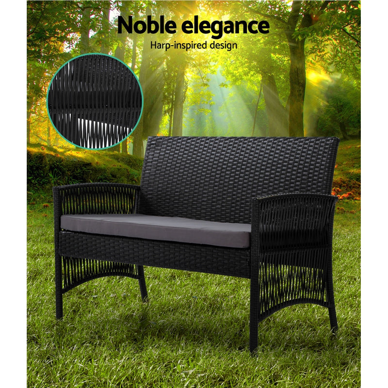 Gardeon 4pc Outdoor Rattan Set w/Cushion - Black - Factory Direct Oz