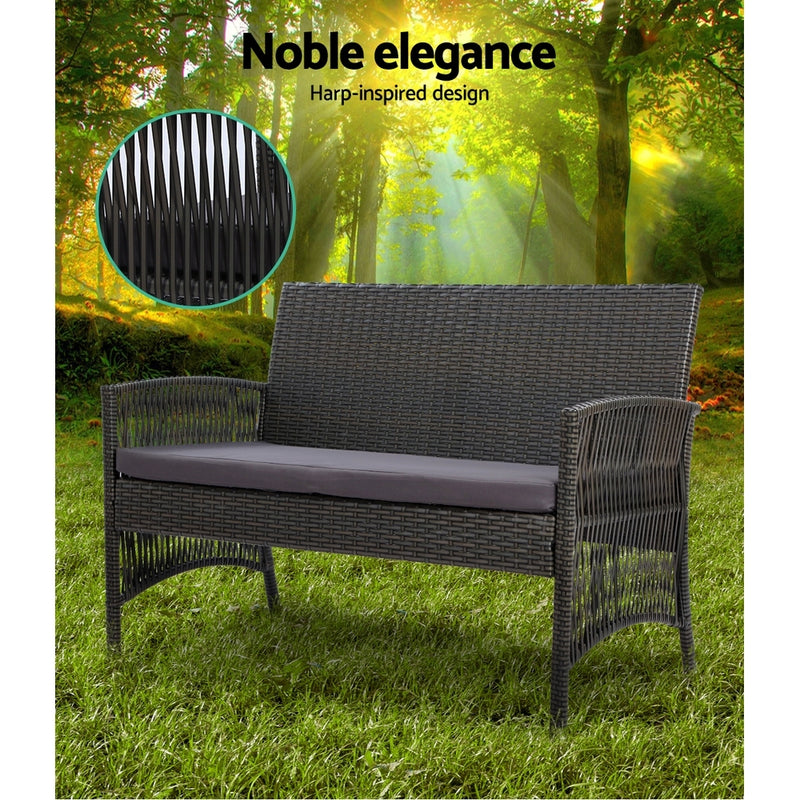 Gardeon 4pc Outdoor Rattan Set w/Cushion - Dark Grey - Factory Direct Oz