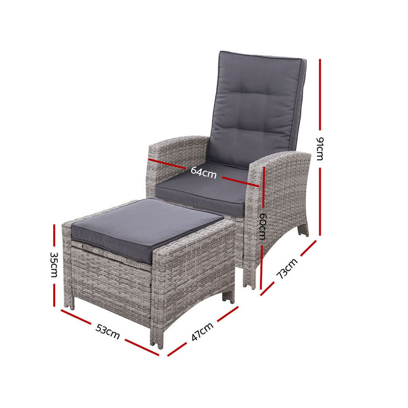 2PC Sun Lounge Recliner - Grey - Factory Direct Oz