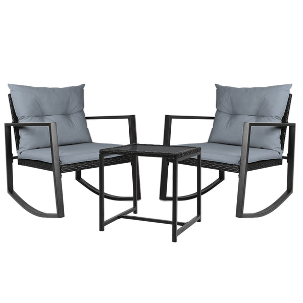 Gardeon Outdoor Rocking Chair Set - Black - Factory Direct Oz