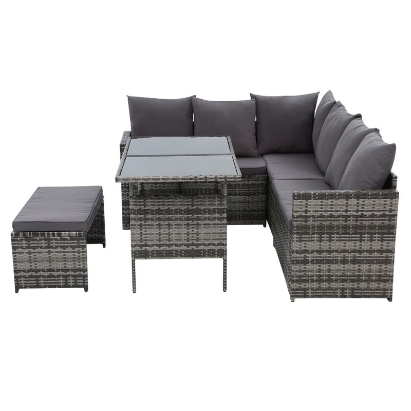 Gardeon 8 Seat Outdoor Dining Setting with Cover - Grey - Factory Direct Oz