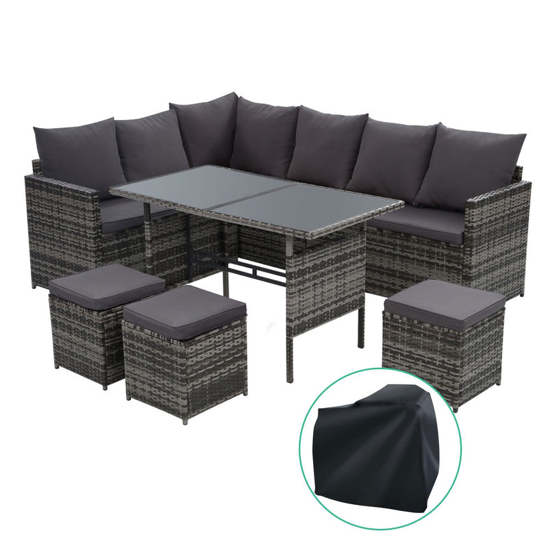 Gardeon 9 Seat Outdoor Dining Setting with Cover - Grey - Factory Direct Oz