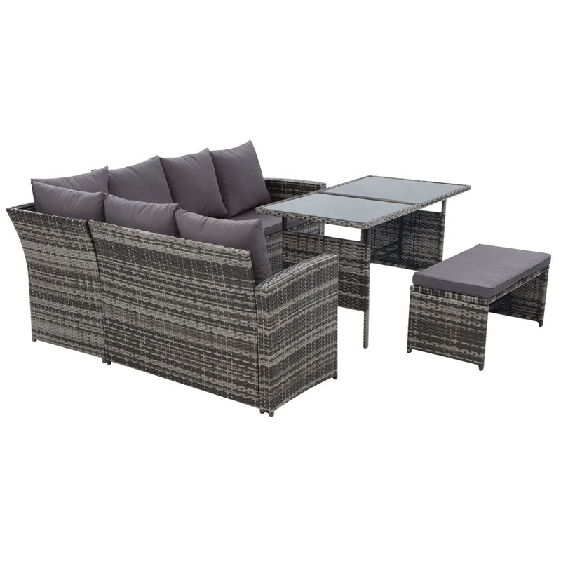 Gardeon 8 Seat Outdoor Wicker Dining Setting with Cover - Grey - Factory Direct Oz