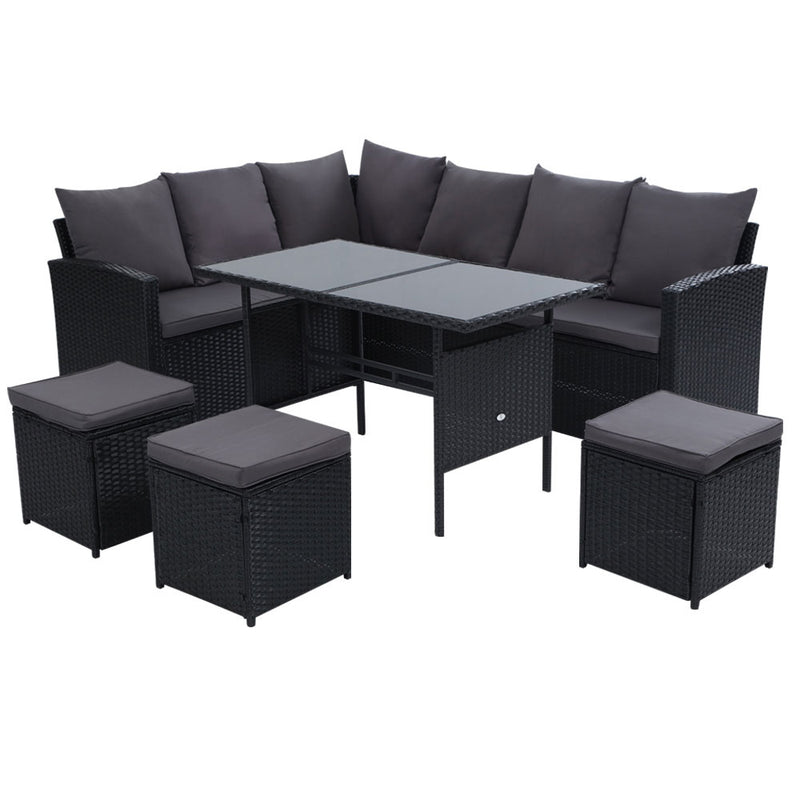 Gardeon 9 Seat Outdoor Wicker Dining Setting - Black - Factory Direct Oz