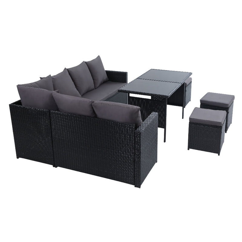 Gardeon 9 Seat Outdoor Wicker Dining Setting with Cover - Black - Factory Direct Oz