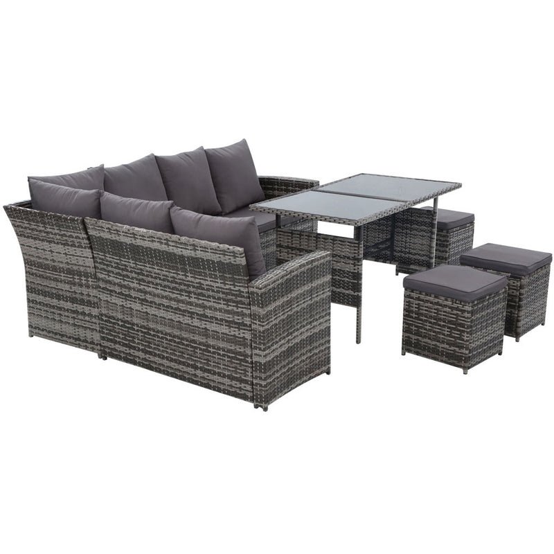 Gardeon 9 Seat Outdoor Wicker Dining Setting with Cover - Grey - Factory Direct Oz