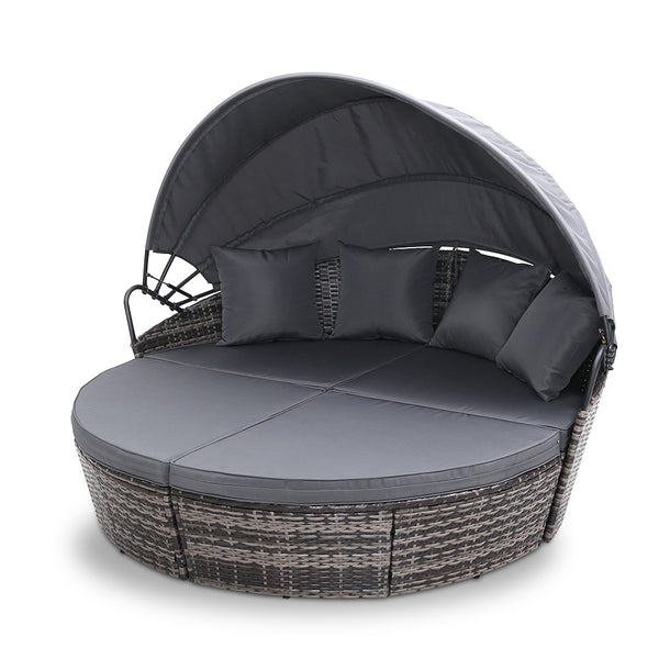 Outdoor Round Day Bed Setting - Grey - Factory Direct Oz