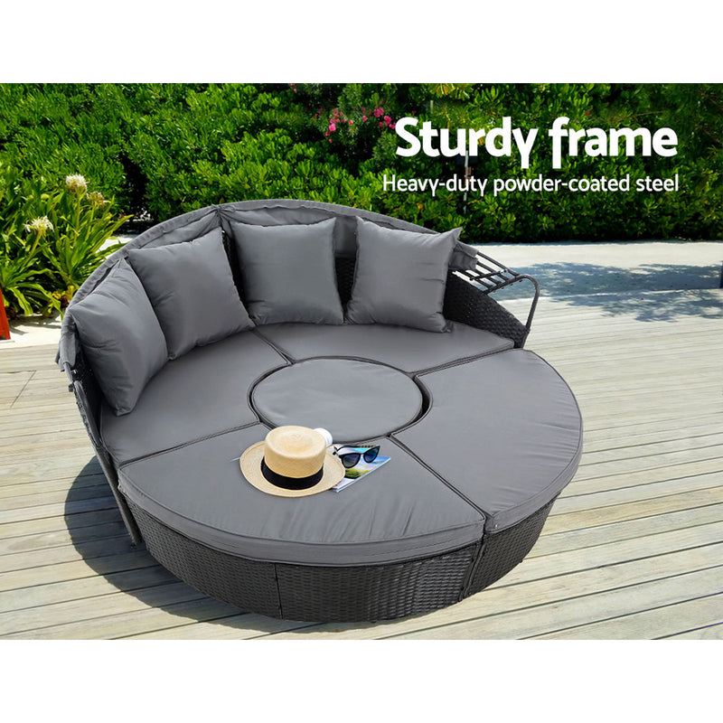 Outdoor Lounge Setting Wicker - Black - Factory Direct Oz