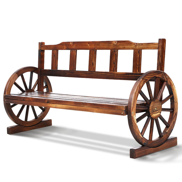 Gardeon Wooden 3 Seat Wagon Wheel Chair - Factory Direct Oz