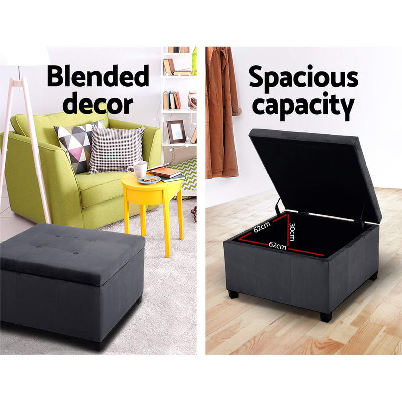 Artiss Storage Ottoman - Charcoal - Factory Direct Oz