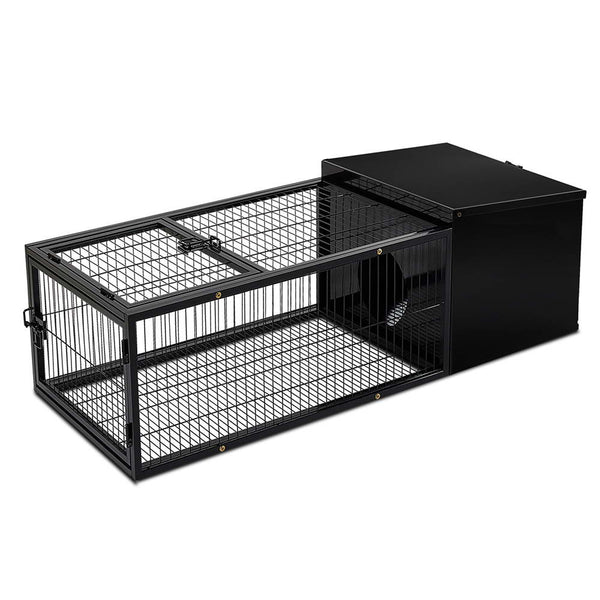 i.Pet Medium Metal Rabbit/Guinea Pig Hutch w/ Run - Factory Direct Oz