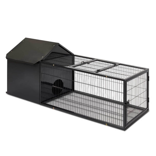 i.Pet Large Metal Rabbit/Guinea Pig Hutch w/ Run - Factory Direct Oz