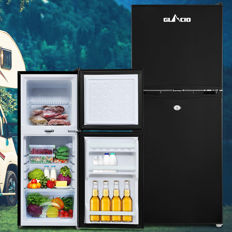 Glacio 120L 12V/24V/240V Portable Fridge/Freezer - Black - Factory Direct Oz