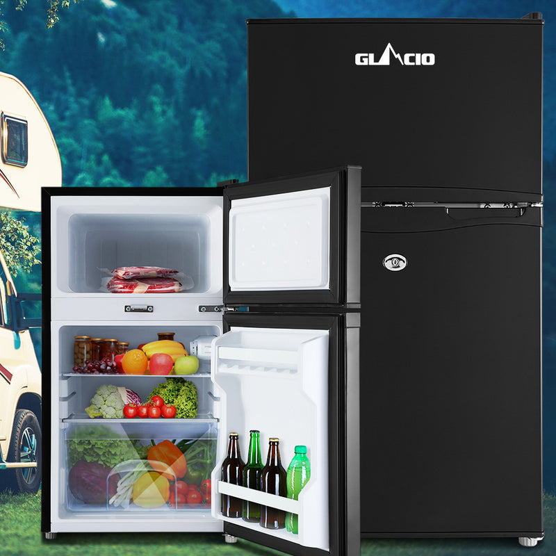 Glacio 90L 12V/24V/240V Portable Fridge/Freezer - Black - Factory Direct Oz