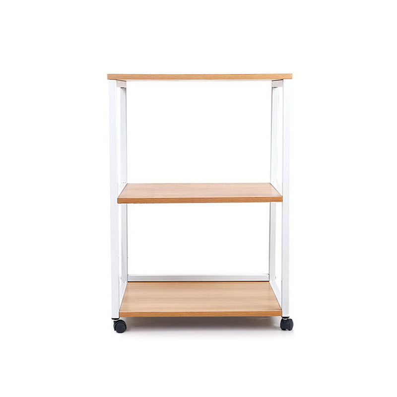 3-Tier Portable Storage Shelf - Wooden Trolley - Factory Direct Oz