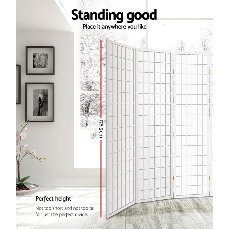 Artiss 8 Panel Vintage Oriental Room Divider - White - Factory Direct Oz