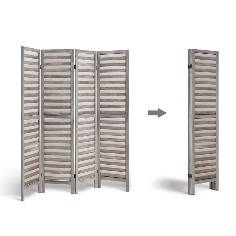 4 Panel Foldable Wooden Room Divider - Grey - Factory Direct Oz
