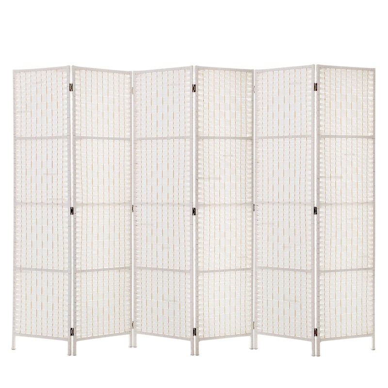 Artiss 6 Panel NZ Pine Room Divider - White - Factory Direct Oz