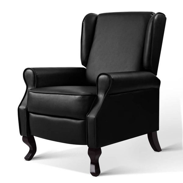 Artiss Luxury Recliner Armchair - Black PU Leather - Factory Direct Oz