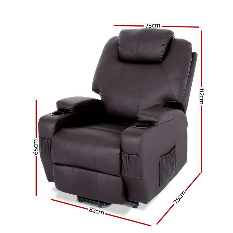 Artiss PU Leather Electric Recliner Lift Chair - Brown - Factory Direct Oz