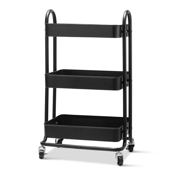 Artiss 3 Tier Kitchen Trolley - Black - Factory Direct Oz