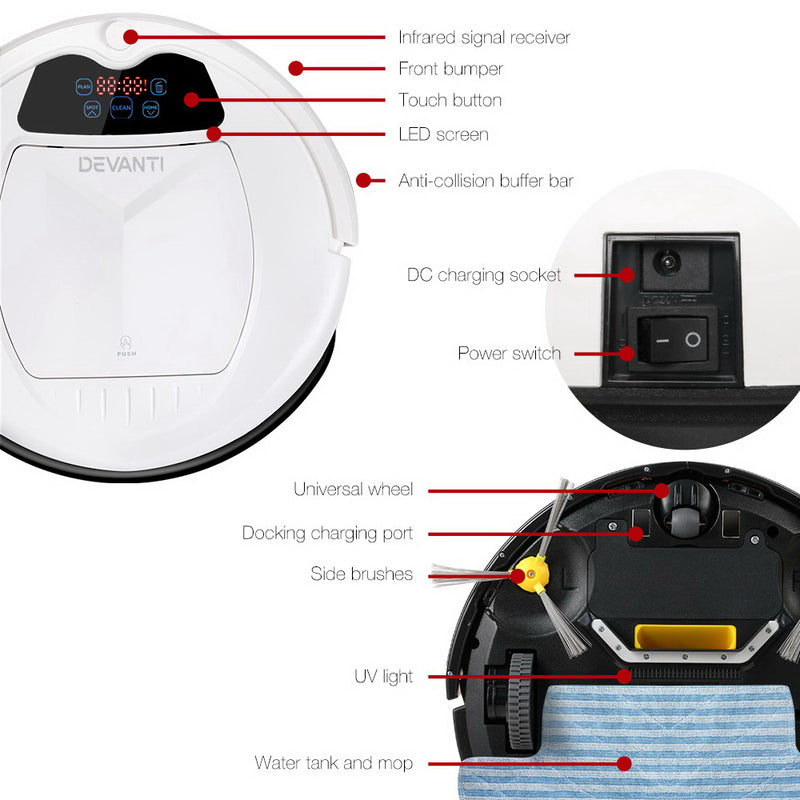 Devanti Automatic Robotic Vacuum - Factory Direct Oz