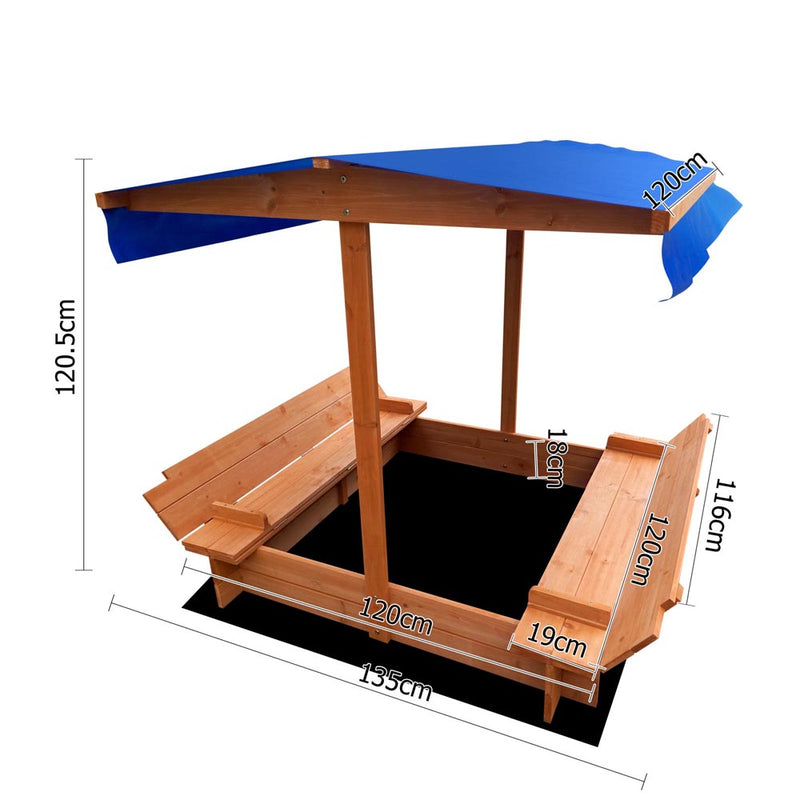 Wooden Sand Box with Canopy - Natural Wood - Factory Direct Oz