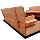 Square Wooden Sandpit - Natural Wood - Factory Direct Oz