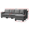 Artiss 5 Seat Modular Lounge w/ Chaise - Grey - Factory Direct Oz