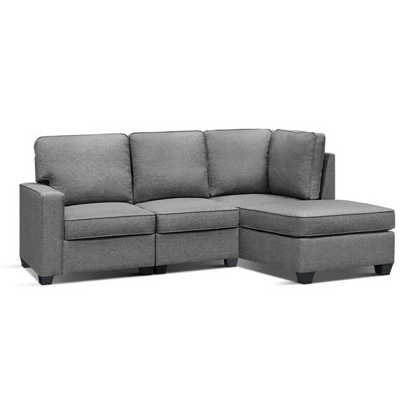 Artiss 4 Seat Modular Lounge w/ Chaise - Grey - Factory Direct Oz