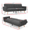 Artiss 3 Seat Sofa Bed - Dark Grey - Factory Direct Oz
