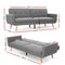Artiss 3 Seat Sofa Bed - Grey - Factory Direct Oz